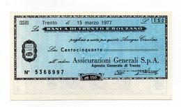 Italia - Miniassegno Da Lire 150 Emesso Dalla Banca Di Trento E Bolzano Nel 1977 - (FDC13021) - [10] Assegni E Miniassegni