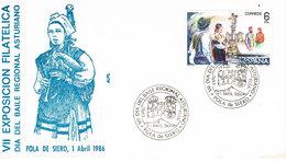 Spanien Umschlag Mit Sonderstempel Pola De Siero (Asturien) - Musik, Dudelsack, Musique - 1981-90 Cartas