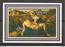 NIUE - 1980 GIOVANNI BELLINI Pietà Martinengo (Gallerie Accademia, Venezia) Foglietto Nuovo** MNH - Religion