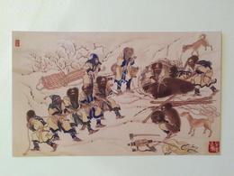 Ainu. Pulling Out A Dead Bear From A Hole. Artist B. Hirasawa - Orsi