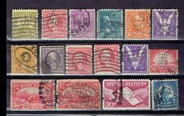 Lot USA 2 - Perfins - Perforés - Perforiert - Etats-unis Toutes époques Et Différents - Perforés