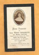IMAGE GENEALOGIE FAIRE PART AVIS DECES CARTE MORTUAIRE SOEUR  MARIA COTTIN MARINGUES 1856 1885 - Décès