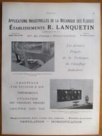 1926 -   Chauffage Ets R LANQUETIN  -  12 Rue D'Orleans NEUILLY SUR SEINE  - Page Originale ARCHITECTURE INDUSTRIELLE - - Machines