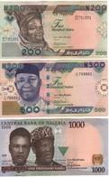 NIGERIA  New 2018    Set  3 Notes 200-500-1'000 Naira    PNEW   2018   UNC - Nigeria