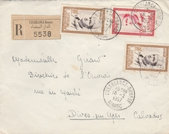 LSC 1957 - Recommandé Et Cachet CASABLANCA Bourse Sur Timbres / Au Dos Cachet Dives Sur Mer (Calvados) - Marruecos (1956-...)