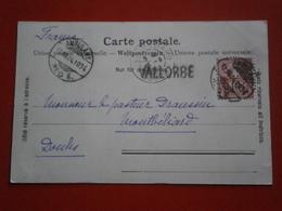 SUISSE SWISS SWITZERLAND CARTE VALLORBE LETTRE ENVELOPPE AMBULANT CONVOYEUR TRAIN CACHET OBLITERATION GRIFFE CURSIVE - 1882-1906 Armarios, Helvetia De Pie & UPU