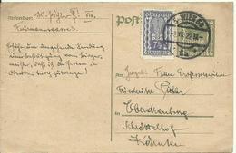 1922 5 Kr. Postkarte  + 7,5 Kr. (Marke) Van Wien Nach Oberdrauburg - Entiers Postaux