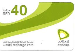 CARTE-PREPAYEE-ETISALAT-40-WASEL RECHARGE-Plastic Fin-TBE - Emirats Arabes Unis