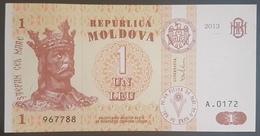 E11kb Banknote -  Moldova 1 Lei, 2013, P-8, UNC - Moldavie