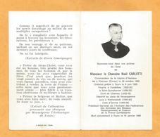 IMAGE GENEALOGIE FAIRE PART DECES MORTUAIRE CHANOINE CARLOTTI  PIETROSO 1900 TOURS 1966 ESVRES NEUENGAMME DEPORTE WW2 - Décès