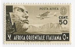 Italian East Africa, Scott # C2 Mint Hinged Plane Over Stone Face, 1938, CV$70.00 - Italian Eastern Africa