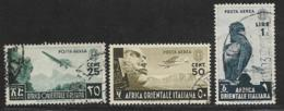Italian East Africa Scott # C1-2,C5 Used Mountains, Stone Face, Eagle, 1938 - Italian Eastern Africa