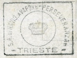 DONNE IN BARCA  Illustrata  Cachet Società Di Navigazione A Vapore PERSEVERANZA  Trieste - Chiatte, Barconi