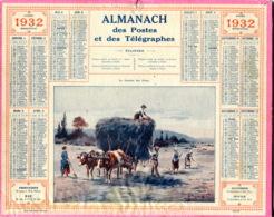 Almanach Postes Et Télégraphes 1932 Trés Bon état, Complet (3 Pages) - Calendriers
