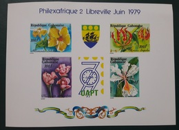 GABON 1979 FILEXAFRIQUA FLEURS FLOWERS - DELUXE PROOF - ULTRA RARE EPREUVE MNH - Gabon