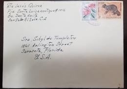 O) 1963 EL SALVADOR, FLOWER POINSETTIA, PROCYON LOTHOR -RACCOON, COVER TO USA - El Salvador