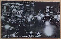 LONDON UK - PICCADILLY CIRCUS Night View - Vg To Italy 1959 - Wrigley's Chewing Gum - Gordon's Gin - Piccadilly Circus