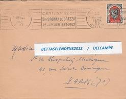 """LSC 1952 - Cachet ALGER Et Flamme """" Centenaire De SAVORGNAN De BRAZZA 25 JANVIER 1852 1952 - YT 271 - Algérie (1924-1962)"""