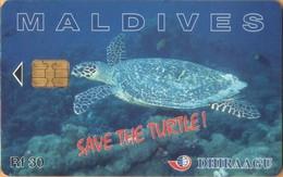 Maldives - 256MLDGIB, Save The Turtle!, Sea Life, 2000, Used - Maldive