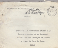 LSC - Cachet PRESIDENCE REPUBLIQUE PARIS - Marcophilie (Lettres)