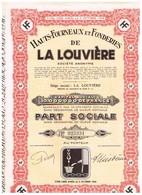 Action Ancienne - Hauts-Fourneaux Et Fonderies De La Louvière - Titre De 1950 - Industrie