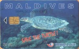 Maldives - 164MLDGIA, Save The Turtle!, Sea Life, 1997 Visit Maldives, Used As Scan - Maldive