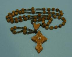 Chapelet, Rosary, Rosario - Ancien, Stanhope Celluloid, Pré-1900, Judas Avec Image Statue Cap De La Madeleine - Religion & Esotérisme