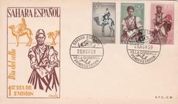 DIA DEL SELLO, SAHARA ESPAÑOL-FDC VILLA CISNEROS 1959 3 STAMPS- BLEUP - Francobolli