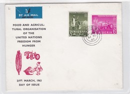 FOOD AND AGRICULTURAL ORGANISATION OF UNITED NATIONS FREEDOM FROM HUNGER-FDC 1963 NIGERIA- BLEUP - Niger (1960-...)