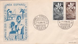 GUINEA ESPAÑOLA-FDC SANTA ISABEL 1952. 2 COLOR STAMP- BLEUP - Postzegels
