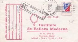 INSTITUTO DE BELLEZA MODERNA. ENVELOPPE CIRCULEE 1971 REPUBLICA DOMINICANA A USA RECOMMANDE AUTRES MARQUES- BLEUP - Dominicaanse Republiek