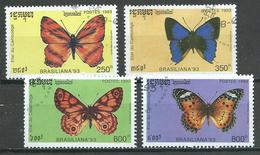 Cambodge YT N°1115-1116-1117-1118 Papillons Oblitéré ° - Papillons