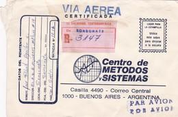 CENTRO DE METODOS Y SISTEMAS. ENVELOPPE CIRCULEE 1976 EL SALVADOR A ARGENTINA VIA AEREA RECOMMANDE- BLEUP - El Salvador