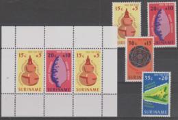 SURINAM - 1975 Artifacts Set And Souvenir Sheet. Scott B222-225a. MNH ** - Surinam ... - 1975
