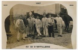 """2 CPA Photo - FONTAINEBLEAU (Seine Et Marne) - """"Au 32eme D'Artillerie"""" - Mars Et Sept 1907 - Fontainebleau"""