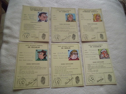 LOT DE 6 ILLUSTRATIONS HUMORISTIQUES ...CARTE NATIONALE D'IDENTITE ... - Cartoline
