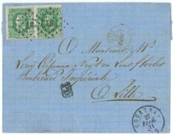 L. Affr. N°30 X2 Lpts 87 COURTRAI/1871 Pour Lille. Tarif Frontalier - 1869-1883 Leopold II.
