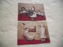 LOT DE 2 CARTES MUSEE DU CASTRUM ..24170 BELVES ...POUPEE JUMEAUX ET A LA CRINOLINE - Musées