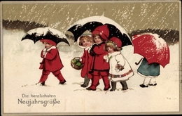 Cp Glückwunsch Neujahr, Kinder, Schnee - Anno Nuovo