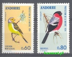French Andorra 1974 Mi 261-262 MNH ( ZE1 ANF261-262 ) - Sparrows