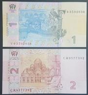 E11g2 - Ukraine 2 Banknotes, 2013 Issue, 1-2 Hryvni, All UNC - Oekraïne