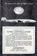 Carton Publicitaire Année 50. Super Constellation. Lockheed. - Plaques En Carton