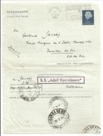 "Scheepspost-Maritime Mail. S.S. ""ADOLF RONNEBAUM"" AEROGRAMME.Norge>Rotterdam>Brasil. - Periode 1949-1980 (Juliana)"
