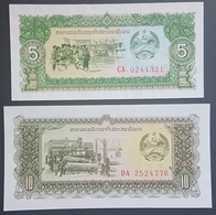 E11g2 - Laos 2 Banknotes, 1988 Issue, 5-10 Kip Both Replacement Notes P26r-27r, RRR, All UNC - Laos