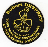 Nov18     83161     Auto Collant   Robert Despret  Travaux Sous Marines   Bruxelles - Stickers