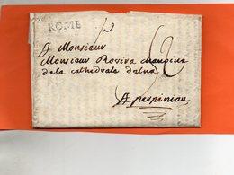 Bureau Français De ROME,L.A.C. De 1788,taxe Manuscrite En Port Dû 52 Sols,pour PERPIGNAN,indice 15. - Poststempel (Briefe)