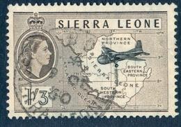 SIERRA LEONE 1956 QEII & MK 31 Aircraft And Map 1s.3d. Black And Sepia, VF Used, MiNr 184, SG 218 - Sierra Leone (1961-...)