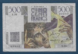 France - 500 F  Chateaubriand   Du  6 - 9 - 1945 - 1871-1952 Anciens Francs Circulés Au XXème