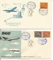 1.º Voo TAP Jet Flight Comet 4 Vol Vuelo Londres Lisboa Santiago Portugal Europa VARIEDADE 1 A Preto Outro Azul - Avions