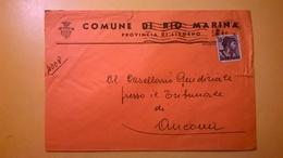 1963 BUSTA COMUNALE INTESTATA COMUNE DI RIO MARINA BOLLO MICHELANGIOLESCA DESTINATA PROCURA REPUBBLICA - 1961-70: Storia Postale